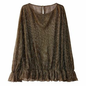 Pleated Metallic Blouse