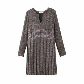 Graphic-Print Pleated Short Dress
