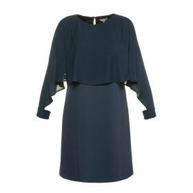 Short-Sleeved Printed Midi Shift Dress