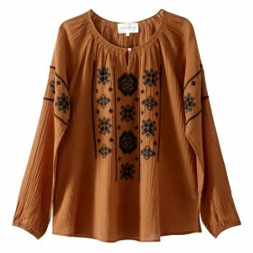 Folk Style Blouse with Embroidery