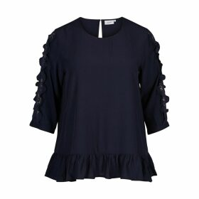 Plain Round Neck Blouse with 3/4 Length Sleeves