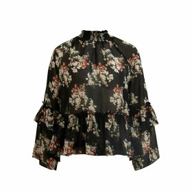 High Neck Floral Print Blouse with Ruffles