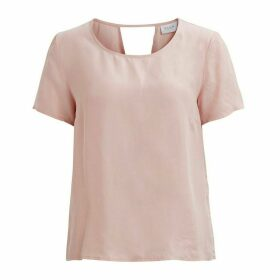Plain Short-Sleeved Crew Neck Blouse