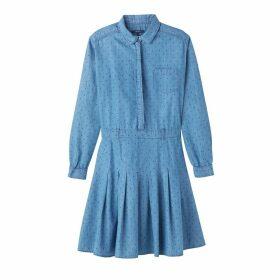 Denim Shirt Dress with Polka Dot Print