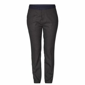 Straight Trousers with Contrasting Belt