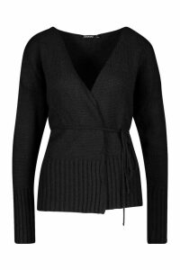 Womens Wrap Detail Peplum Cardigan - Black - M, Black