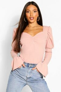 Womens Tall Puff Sleeve Ruched Front Top - Pink - 10, Pink