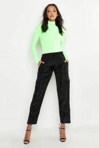 Womens Tall Neon Rib Roll Neck Top - Green - 18, Green