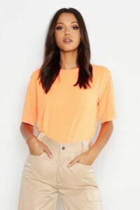 Womens Tall Neon Rib Oversized T-Shirt - Orange - 6, Orange