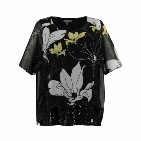 Floral Print Round Neck Blouse with Short Sleeves