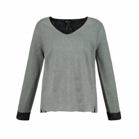 Reversible V-Neck Jumper with Lace