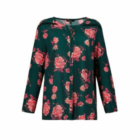 Floral Print Blouse with Tie-Neck and Long Sleeves
