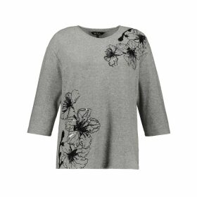 Floral Print V-Neck Jumper with Sequins and 3/4 Length Sleeves