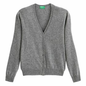 Wool Buttoned Cardigan with V-Neck
