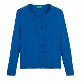 Cotton Buttoned Cardigan with Crew-Neck