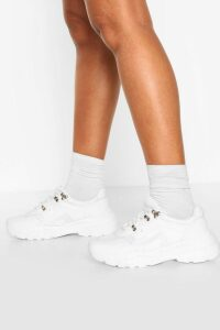 Womens Chunky Sole Hiker Trainers - White - 8, White