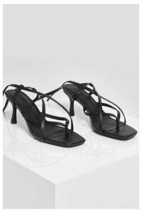 Womens Strappy Toe Post Low Stiletto Heels - Black - 3, Black