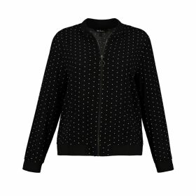 Polka Dot Bomber Jacket in Relaxed Fit