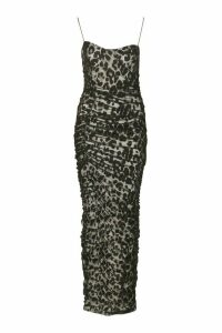 Womens Strappy Square Neck Leopard Ruched Maxi Dress - Black - 18, Black