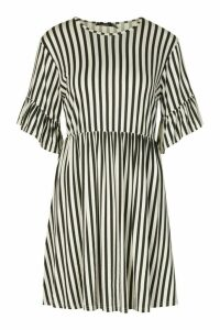 Womens Stripe Ruffle Sleeve Smock Dress - Black - 16, Black