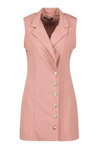 Womens Sleeveless Military Button Blazer Dress - Pink - 8, Pink