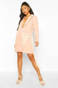 Womens Dobby Mesh Detail Blazer Dress - Pink - 14, Pink