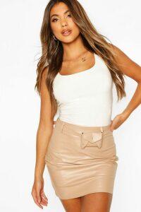 Womens Belted Leather Look Mini Skirt - Beige - 16, Beige
