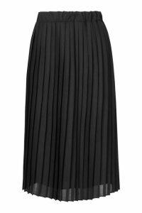 Womens Woven Pleated Midi Skirt - Black - 16, Black