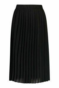 Womens Woven Pleated Midi Skirt - Black - 8, Black