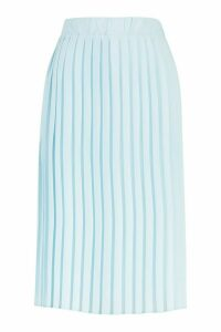 Womens Woven Pleated Midi Skirt - Blue - 16, Blue