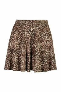 Womens Leopard Print Flippy Shorts - Brown - 6, Brown