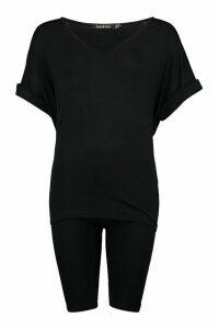 Womens Oversized T-Shirt & Cycling Short Co-Ord Set - Black - 12, Black