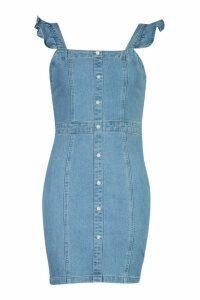 Womens Ruffle Strap Button Denim Dress - Blue - 12, Blue