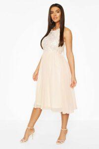 Womens Boohoo Occasion Sequin Midi Dress - Beige - 18, Beige