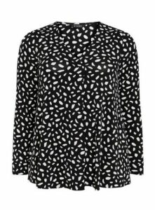 Black Abstract Print Pleat Front Top, Black