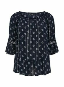 Navy Blue Aztec Print Gypsy Bardot Top, Navy