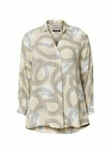 Boutique Neutral Swirl Print Shirt, Beige/Natural