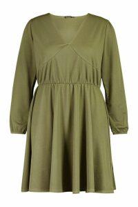 Womens Plus Crepe Blouson Sleeve Skater Dress - Green - 18, Green