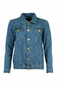 Womens Oversize Denim Jacket - Blue - 14, Blue