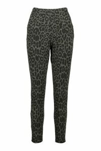 Womens Leopard Print Pocket Front Trouser - Grey - 14, Grey