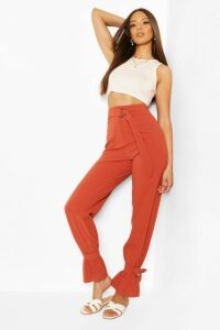 Womens D-Ring Linen Mix Tie Ankle Trouser - Orange - 16, Orange