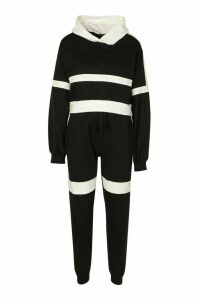 Womens Stripe Detail Crop Hoodie & Jogger Set - Black - 12, Black