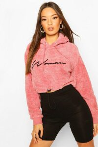 Womens Woman Embroidered Fleece Crop Hoodie - Pink - 16, Pink