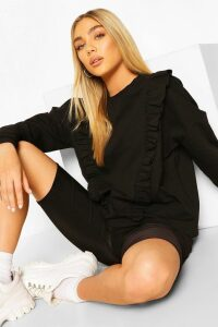 Womens Frill Trim Jumper - Black - 14, Black