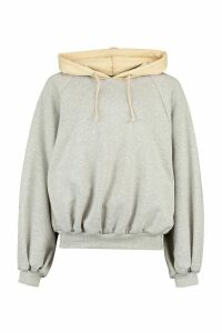 Womens Colour Block Panel Hoody - Grey - 16, Grey