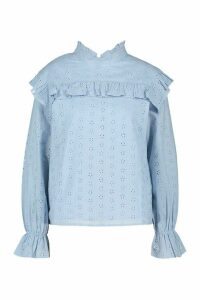 Womens Broderie Anglaise Frill Blouse - Blue - 14, Blue
