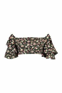 Womens Floral Polka Dot Ruffle Sleeve Crop Top - Black - 16, Black