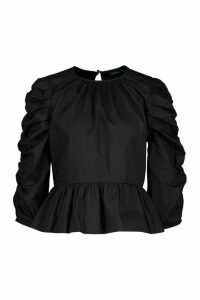 Womens Puff Sleeve Cotton Blouse - Black - 14, Black