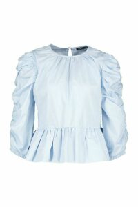 Womens Puff Sleeve Cotton Blouse - Blue - 12, Blue
