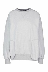 Womens Top Stitch Detail Sweat - Grey - M, Grey